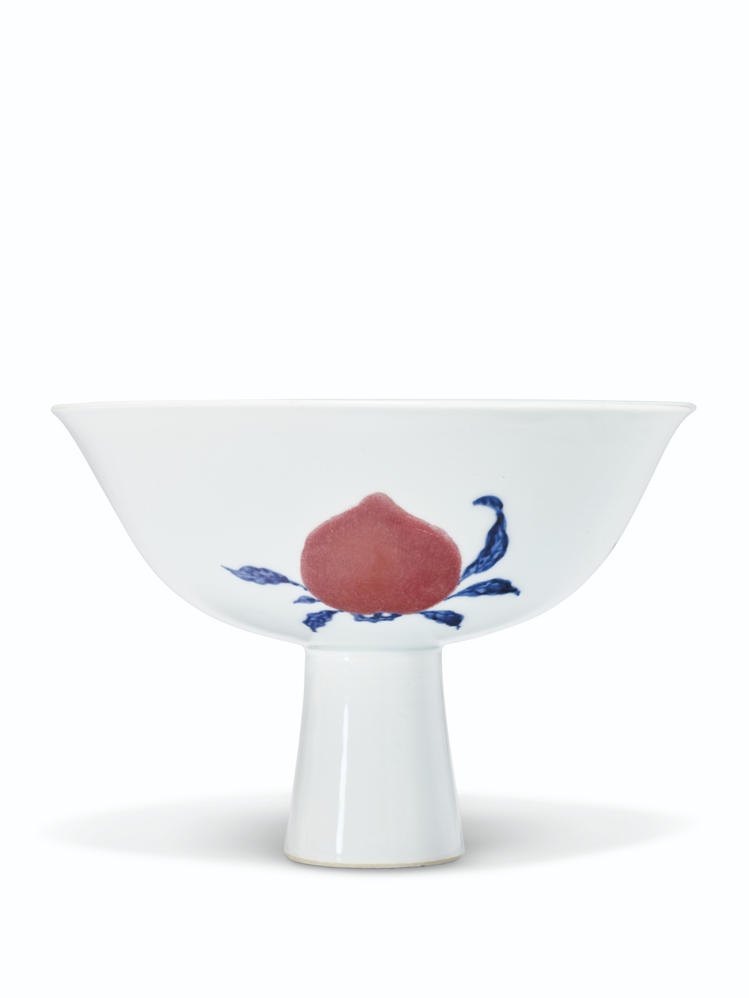 A RARE BLUE AND WHITE AND COPPER-RED 'SANDUO' STEM BOWL