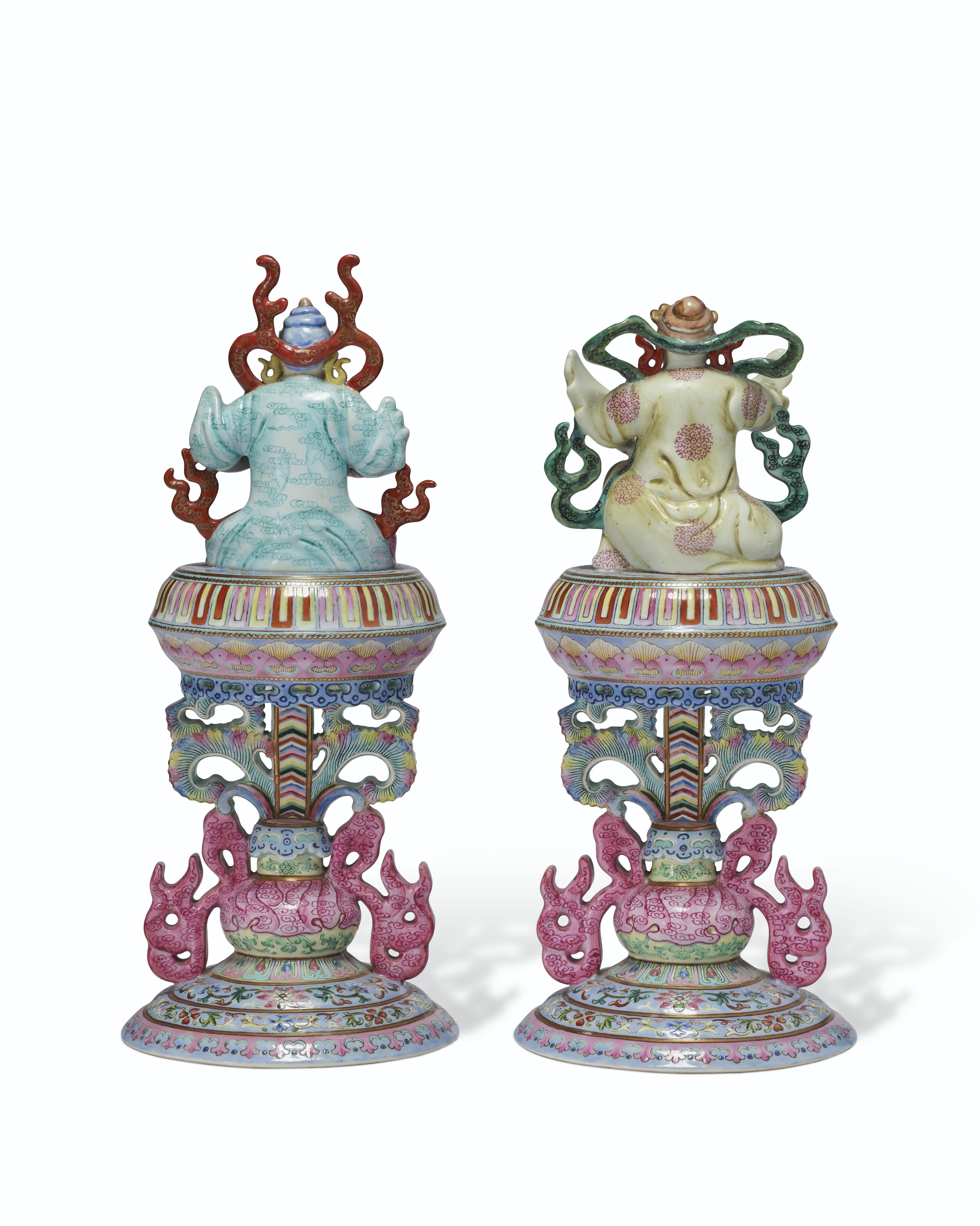 A VERY RARE PAIR OF FAMILLE ROSE ALTAR ORNAMENTS