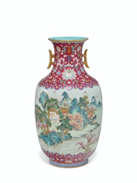 A RARE AND FINELY DECORATED FAMILLE ROSE 'LANDSCAPE' VASE