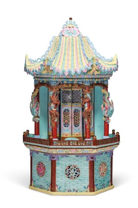 AN UNUSUAL LARGE FAMILLE ROSE MODEL OF A PAVILION