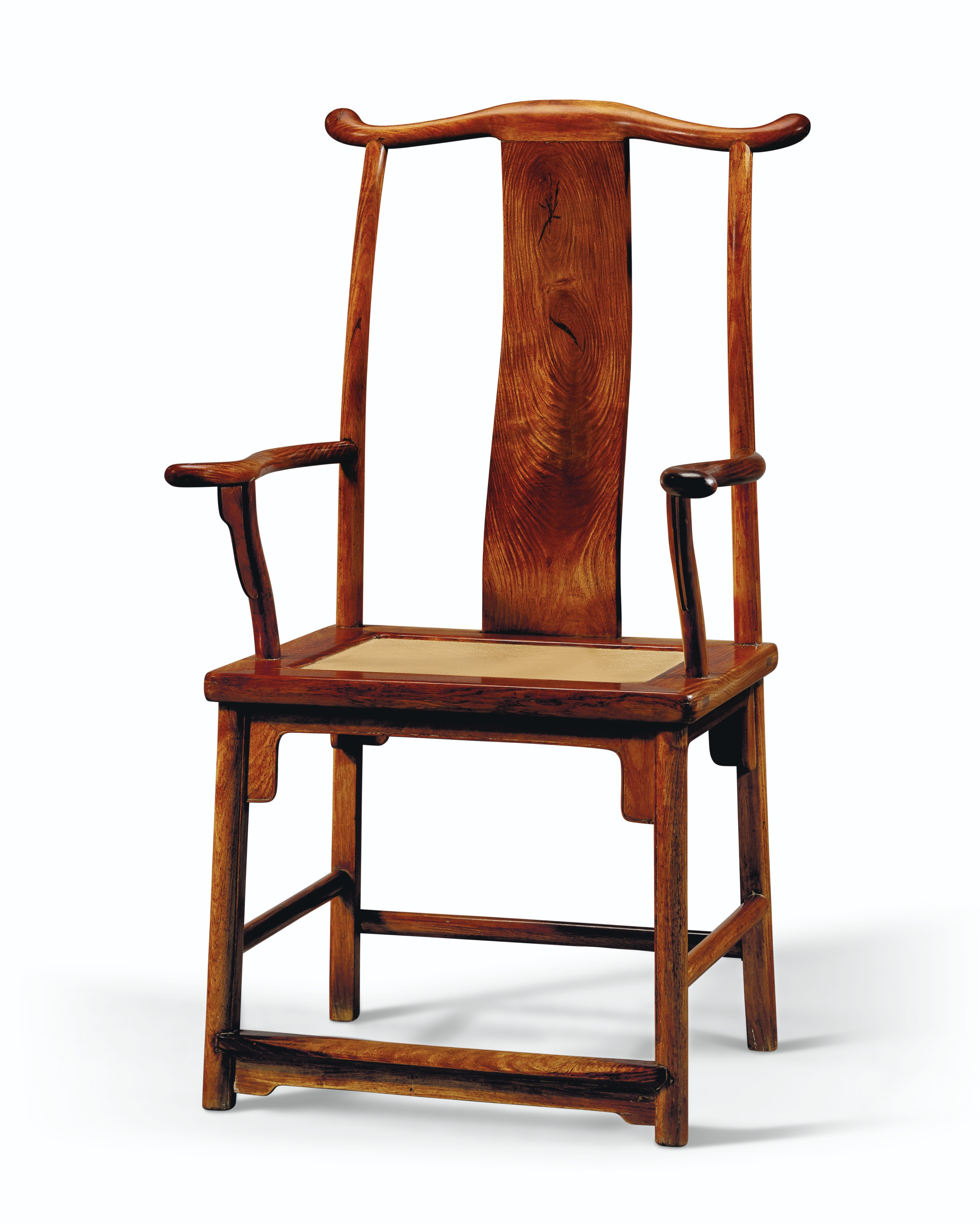 A RARE PAIR OF HUANGHUALI 'OFFICIAL'S HAT' ARMCHAIRS
