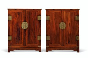 A PAIR OF HUANGHUALI KANG CABINETS