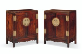 A RARE PAIR OF SMALL HUANGHUALI SQUARE-CORNER KANG CABINETS