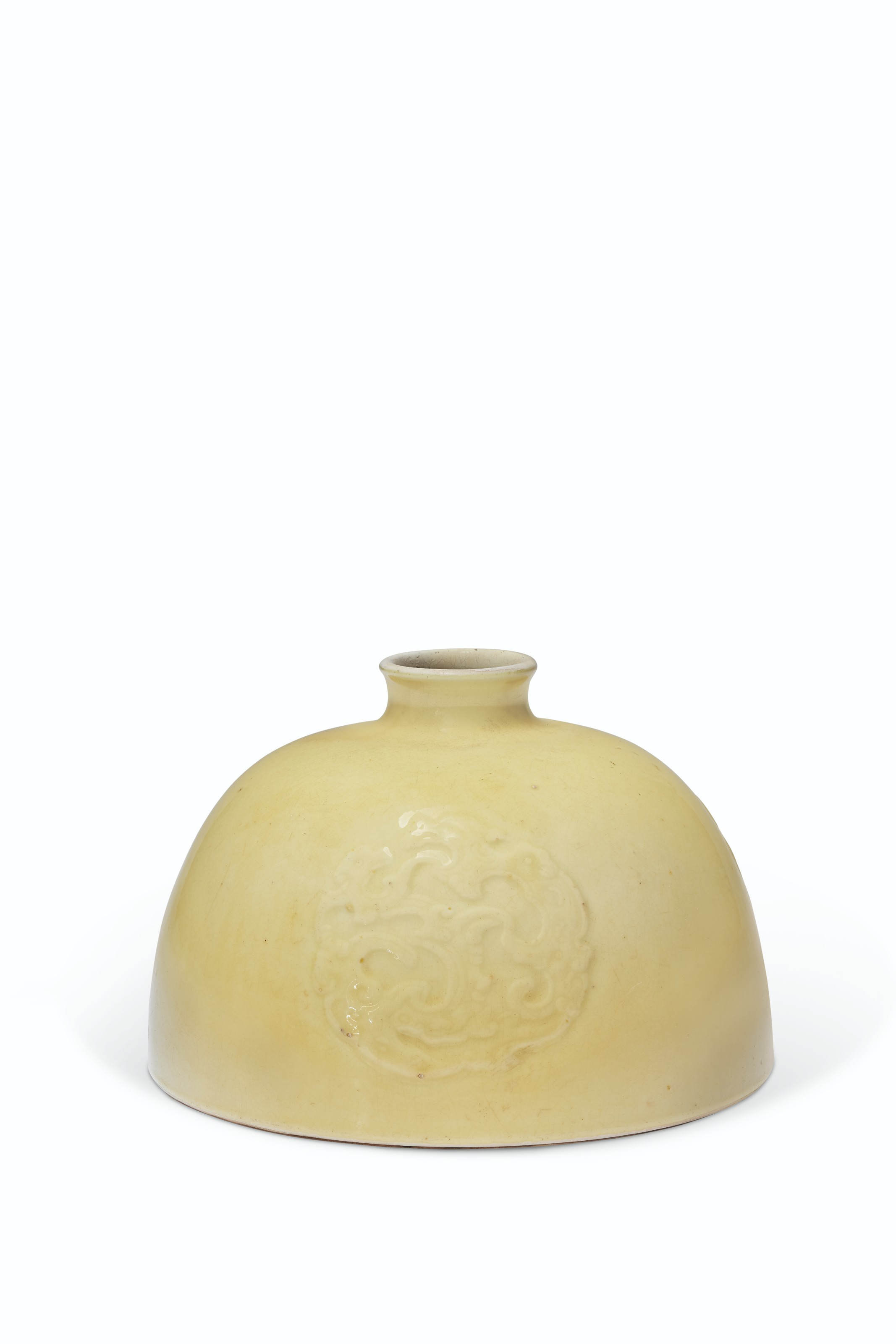 A VERY RARE YELLOW-GLAZED RELIEF-DECORATED WATER POT, TAIBAI ZUN