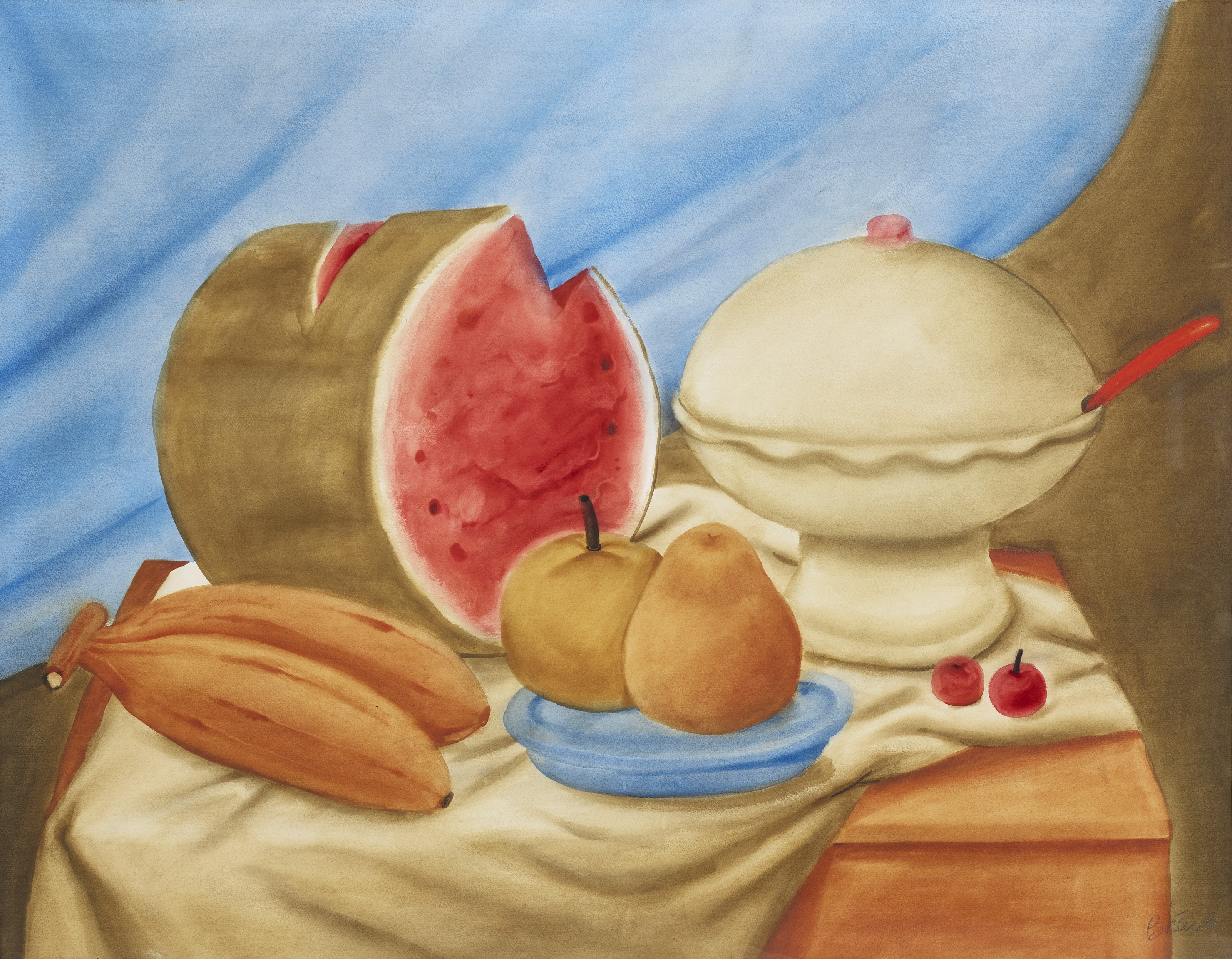 Fernando Botero (b. 1932), Still Life with Soup Tureen and Watermelon, 1981. Watercolour on paper. 43 x 54 in (109.2 x 137.2 cm). Estimate $150,000-250,000. Offered in Latin American Art on 19 May 2021 at Christie's in New York