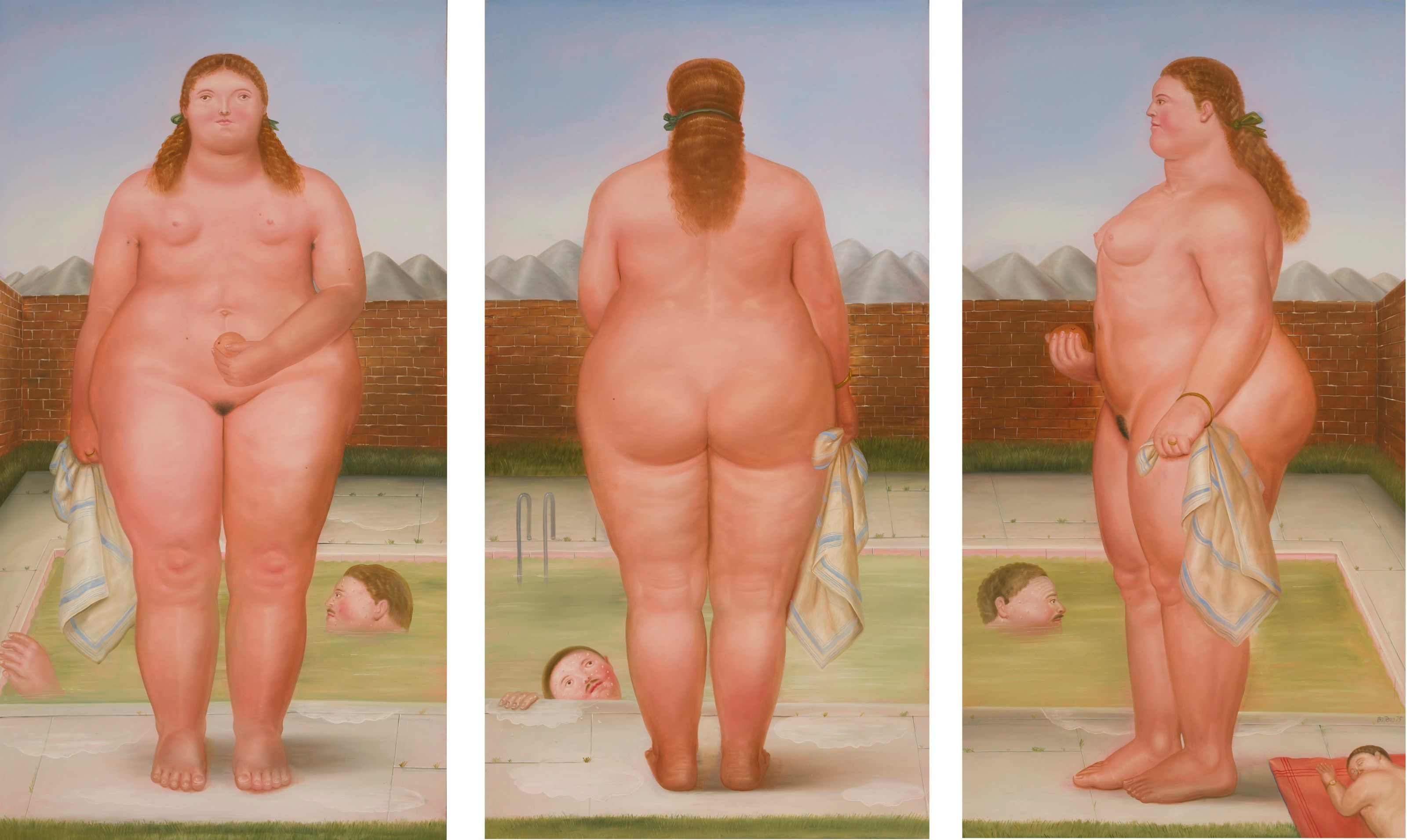 Fernando Botero (b. 1932), The Bather, 1975. Oil on canvas, triptych. Each 93 x 49½ in (236.2 x 126 cm); overall 93 x 148½ in (236.2 x 377.2 cm). Estimate $1,800,000-2,500,000. Offered in Latin American Art on 19 May 2021 at Christie's in New York