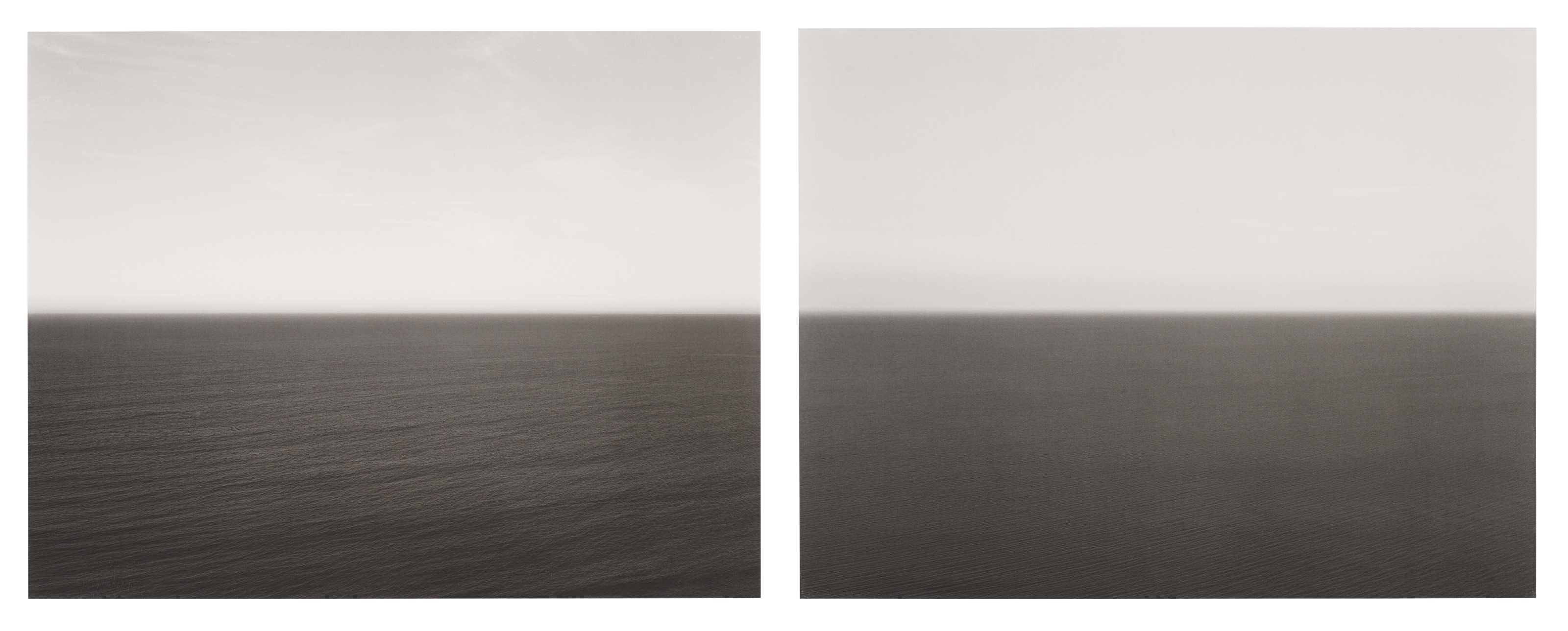 Hiroshi Sugimoto (b. 1948), Two selected prints from Time Exposed. Tasman Sea, Ngarupupu, 1990, Marmara Sea, Silivli, 1991, 1989. Two offset lithographs, each mounted on card. Each imagesheet 9½ x 12¼ in (24.1 x 31.1 cm). Estimate $2,000-3,000. Offered in Photographson 6 April 2021 at Christie's in New York