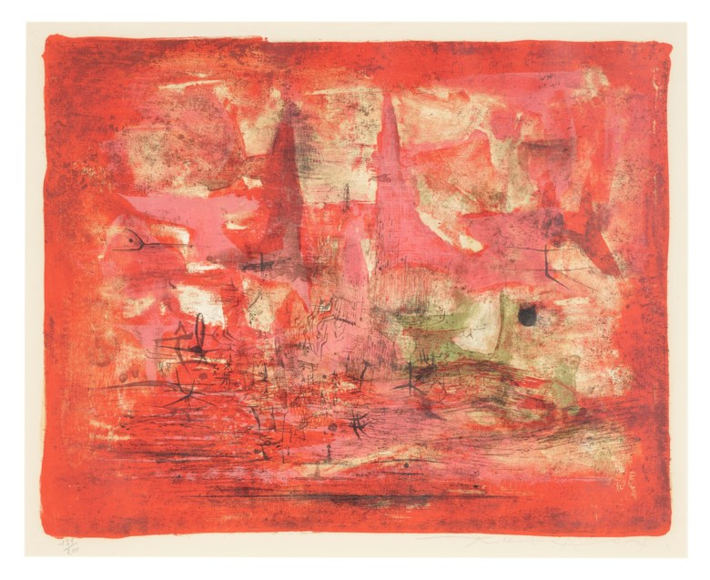 Zao Wou-Ki (1920-2013), Embrasement (Conflagration), 1954. Lithograph. 38.5 x 48 cm (15⅛ x 18⅞ in). Estimate $3,000-5,000. Offered in Contemporary Art Asia, until 12 March 2021, Online