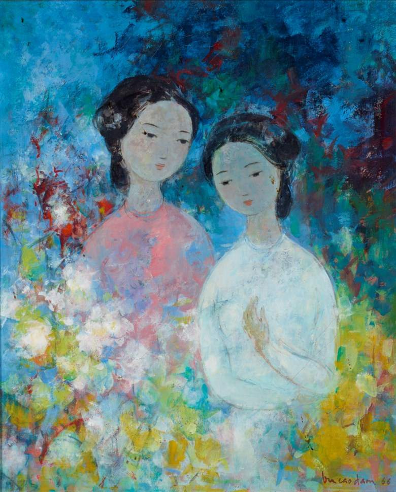 Vu Cao Dam (1908-2000), Confidences, 1966. Oil on canvas. 46 x 38 cm (18⅛ x 15 in). Estimate $10,000-15,000. Offered in Contemporary Art Asia, until 12 March 2021, Online