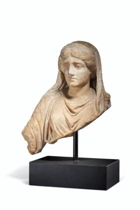 A ROMAN MARBLE FEMALE BUST
