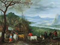 A landscape with herdsmen driving cattle to a village