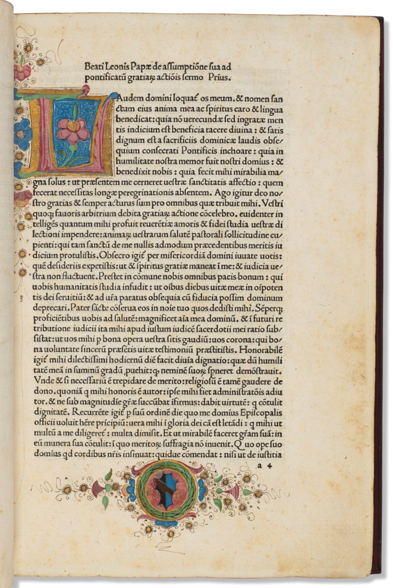 Pope Leo I (c. 400-461). Sermones. Venice Lucas Dominici Filius Venetus, 7 August 1482. Sold for $6,875 on 23 April 2021 at Christie's in New York