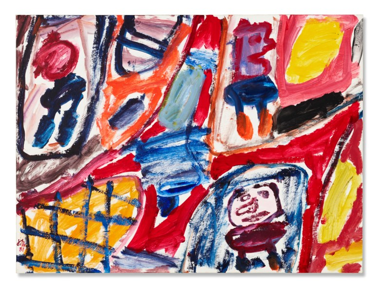 Jean Dubuffet (1901-1985), Site avec 3 personnages, 1981. Acrylic on paper mounted on canvas. 19⅝ x 26⅜ in (49.8 x 67 cm). Estimate $120,000-$180,000. Offered in Post-War to Present on 9 March 2021 at Christies in London