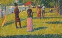 Paysage et personnages (La jupe rose)