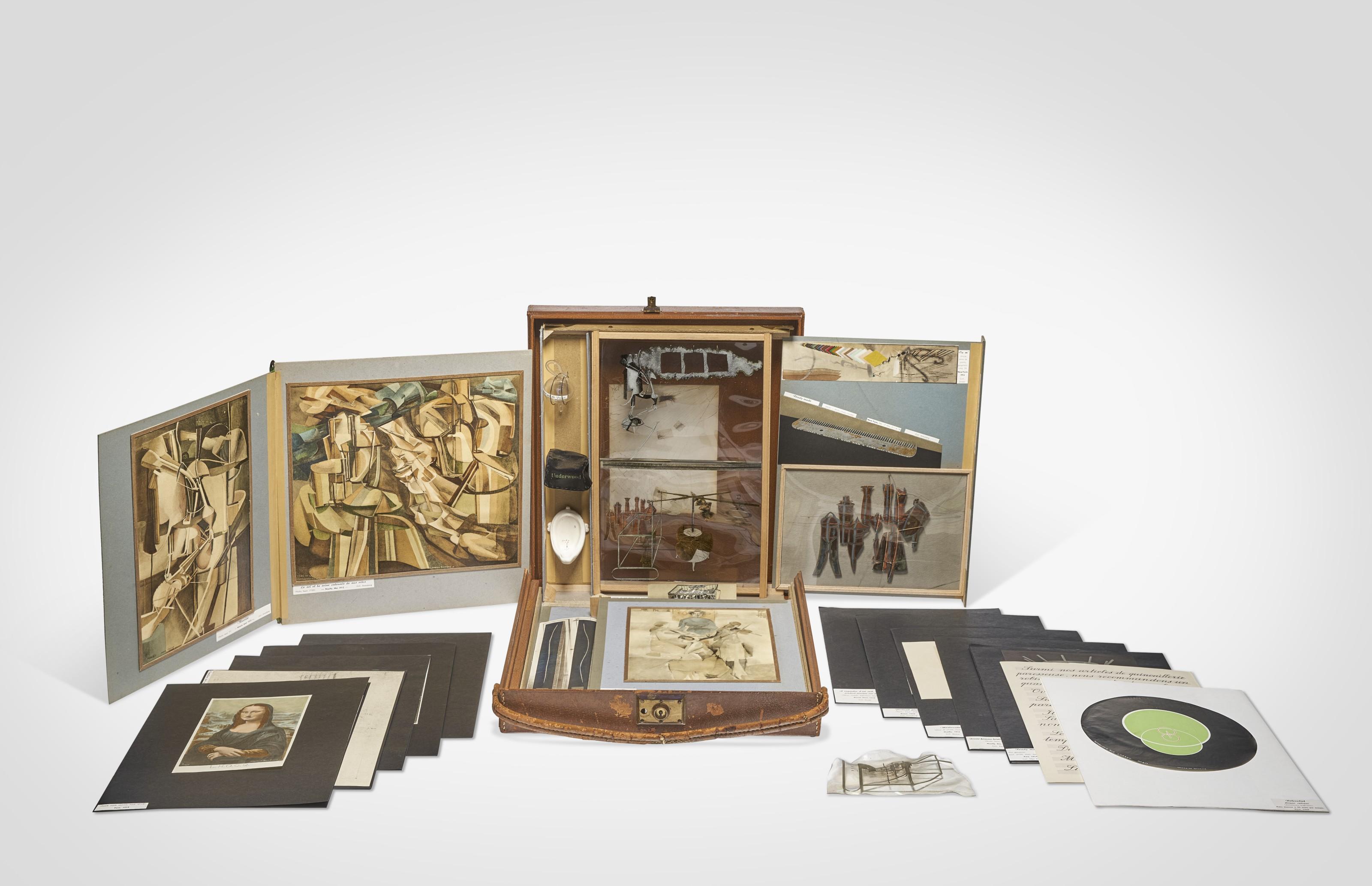 Marcel Duchamp (1887-1968), De ou par Marcel Duchamp ou Rrose Sélavy (La Boîte-en-valise), Series A Untitled. Valise 16⅛ x 15 x 4 in (41 x 38 x 10.2 cm). Box 15¼ x 14⅛ x 3 in (38.9 x 35.7 x 7.6  cm). Untitled 7½ x 6 in (19 x 15.2  cm). Estimate $2,000,000-3,000,000. Offered in 20th Century Evening Sale on 13 May 2021 at Christie's in New York