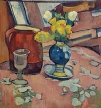 Nature morte (Vase de fleurs, pichet et verre)