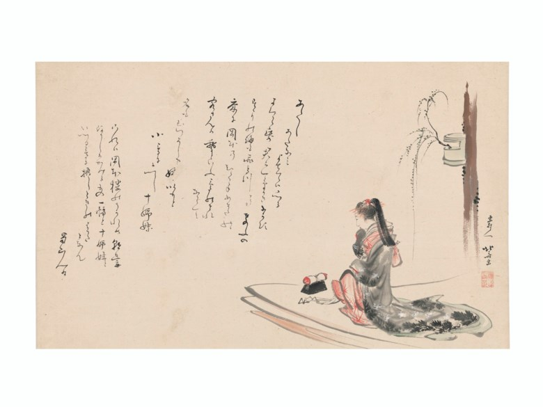 Katsushika Hokusai (1760-1849), Mitate Asazuma bune (Parody of Asazuma Boat), 1804-05. Hanging scroll; ink and colour on paper. 13¾ x 22¼ in (34.9 x 56.5 cm).Estimate $400,000-500,000.Offered in Japanese and Korean Art on 16 March 2021 at Christie's New York