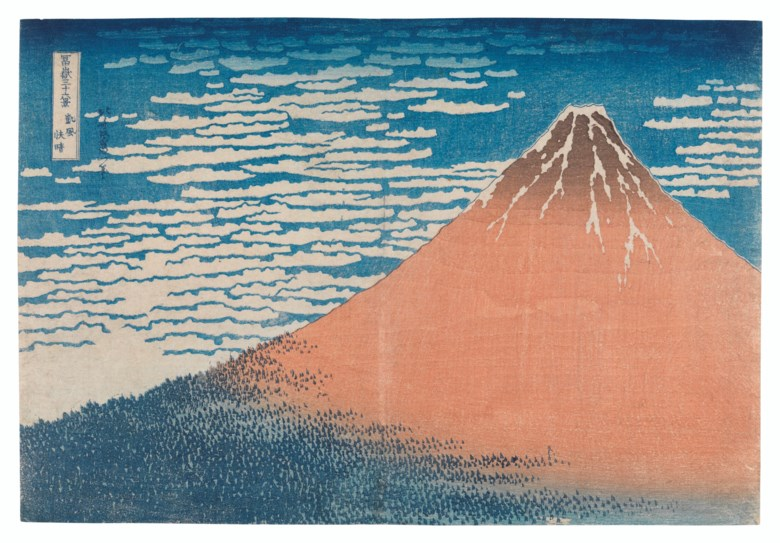 Katsushika Hokusai (1760-1849), Gaifu kaisei (Fine wind, clear weather) [Red Fuji], from the series Fugaku sanjurokkei (Thirty-six views of Mount Fuji), published late 1831. Woodblock print. 9⅞ x 14½ in (25.1 x 36.8 cm). Estimate $120,000-180,000. Offered inJapanese and Korean Arton 16 March 2021 at Christie's New York