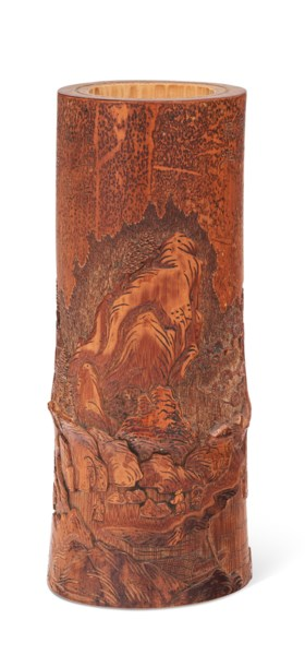 A CARVED BAMBOO BRUSH POT