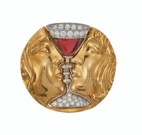 ALEMANY AND ERTMAN FOR SALVADOR DALI GARNET, DIAMOND AND GOLD 'TRISTAN AND ISOLDE' BROOCH