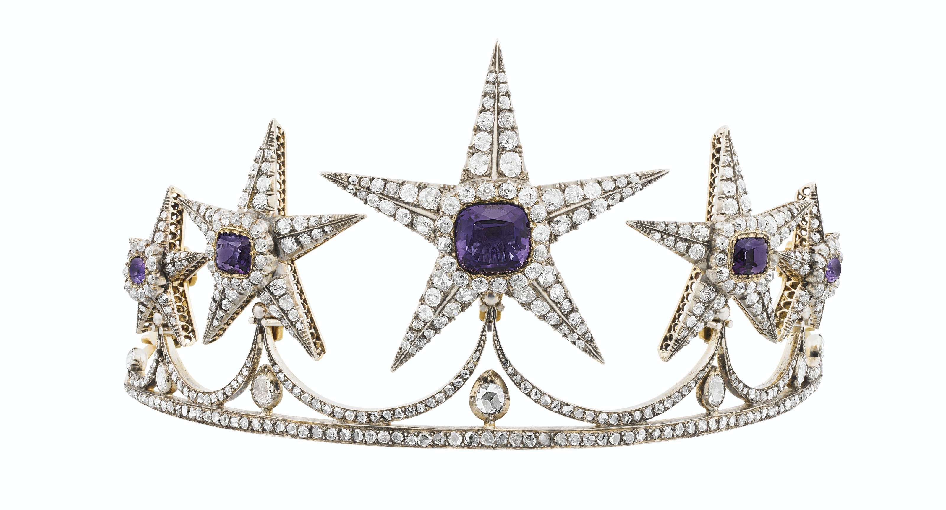 ANTIQUE AMETHYST AND DIAMOND TIARA