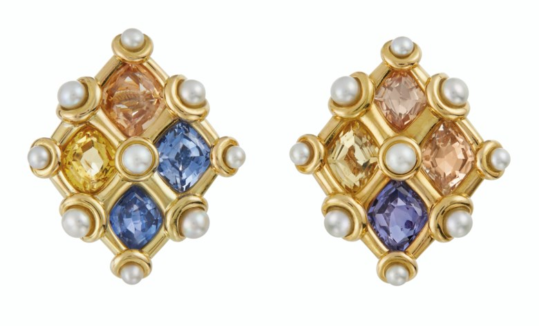 Multicoloured sapphire and natural pearl earrings, by JAR. Sold for $68,750 on 13 April 2021 at Christie's in New York