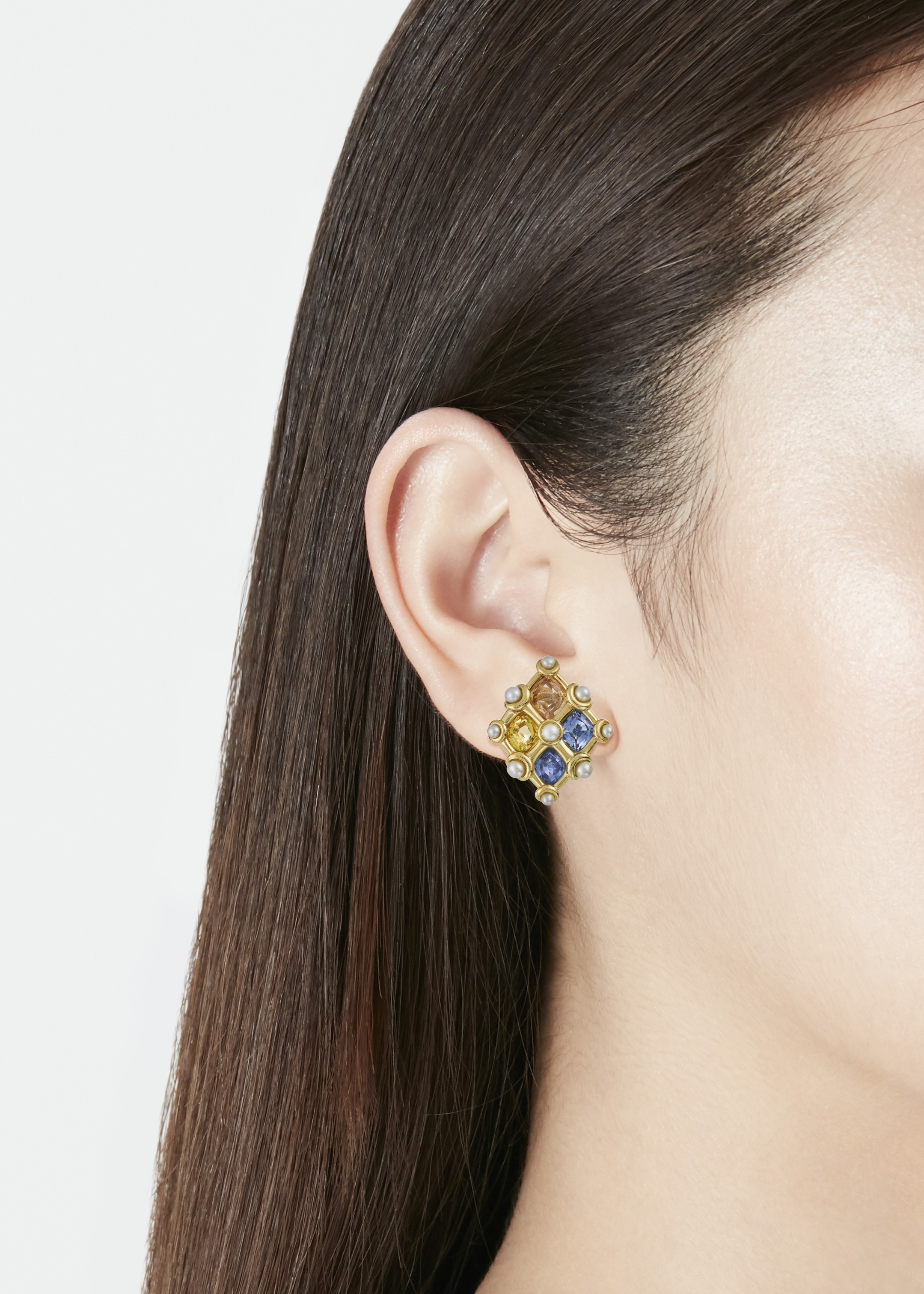 JAR MULTI-COLORED SAPPHIRE AND NATURAL PEARL EARRINGS