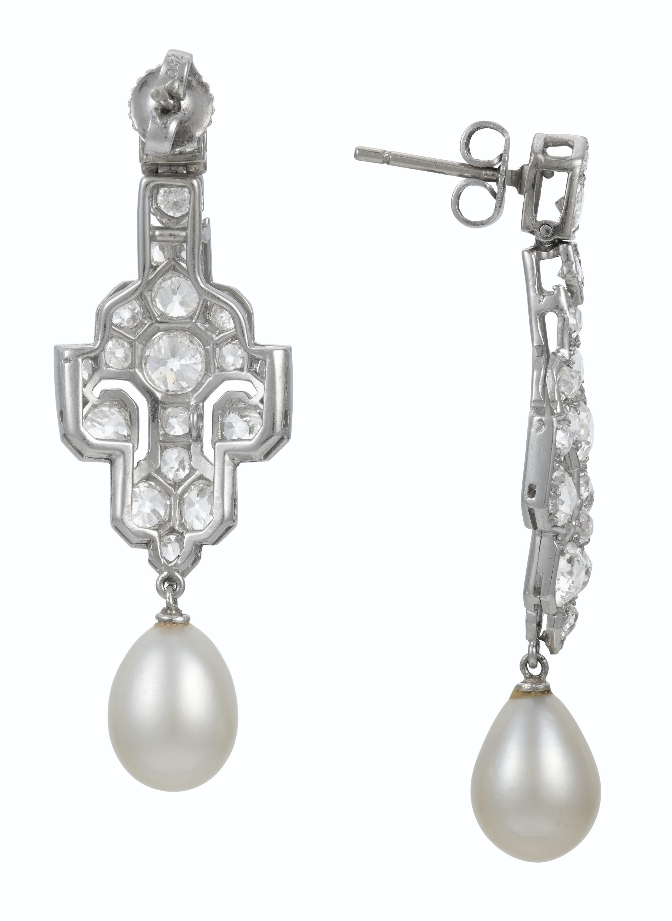 NATURAL PEARL AND DIAMOND EARRINGS