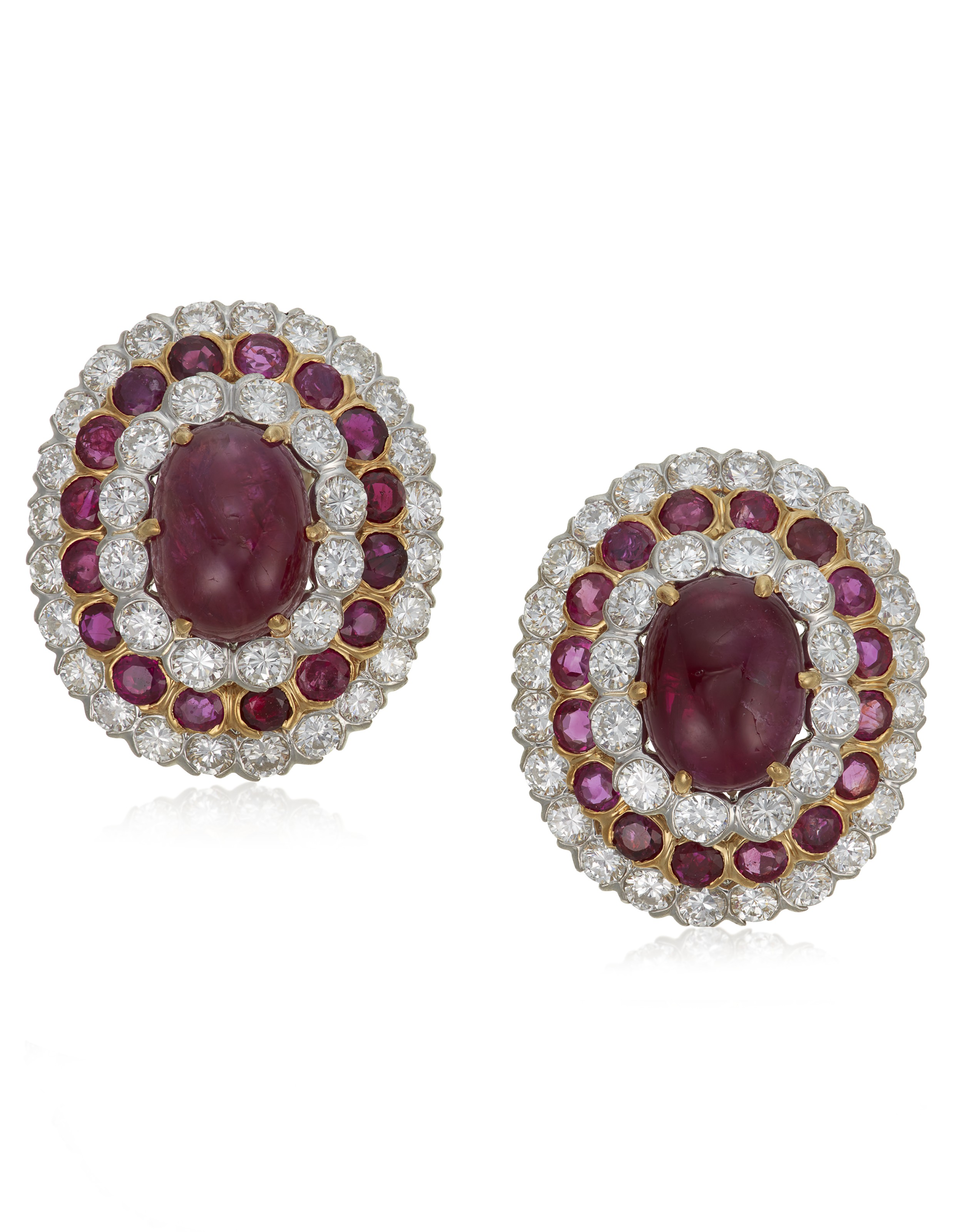 Ruby and diamond earrings, by David Webb. Sold for $12,500 on10 February 2021, Online