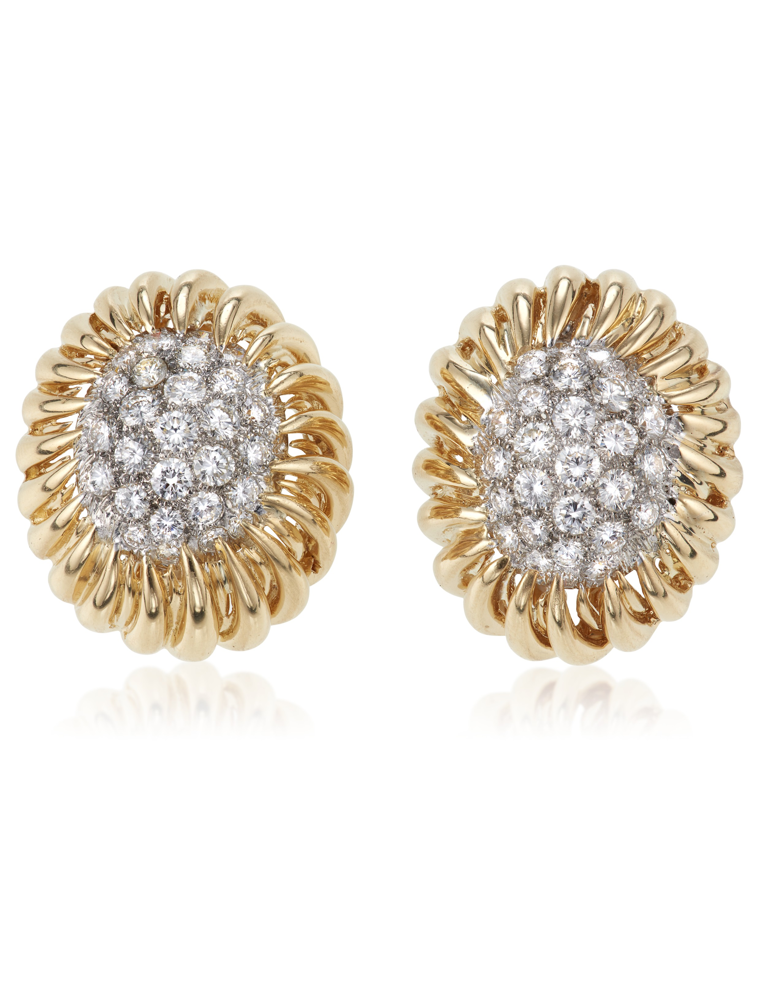 Gold and diamond earrings, by David Webb. Sold for $6,875 on10 February 2021, Online