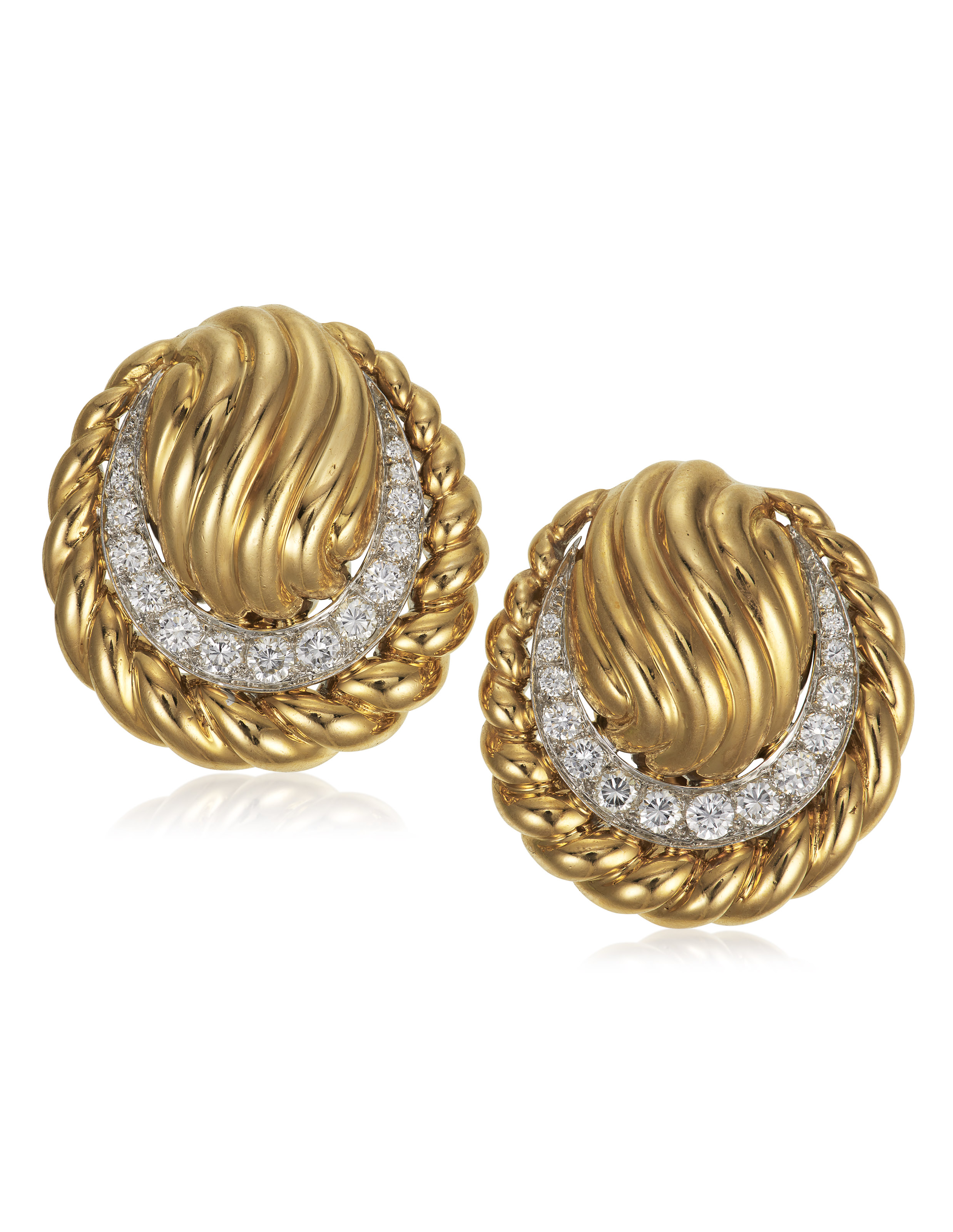 Gold and diamond earrings, by David Webb. Estimate $2,000-3,000. Offered in Jewels Online, until 10 February 2021, Online