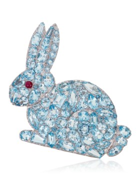 MICHELE DELLA VALLE BLUE TOPAZ, RUBY AND DIAMOND BUNNY BROOC