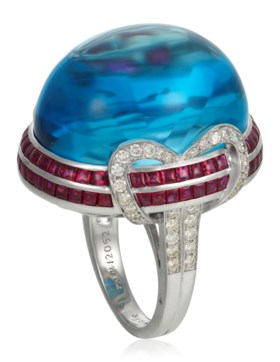 MICHELE DELLA VALLE BLUE TOPAZ, RUBY AND DIAMOND RING