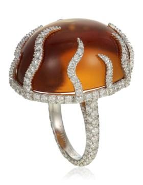 MICHELE DELLA VALLE CITRINE AND DIAMOND RING