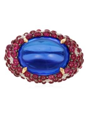 MICHELE DELLA VALLE TANZANITE, RUBY AND DIAMOND RING