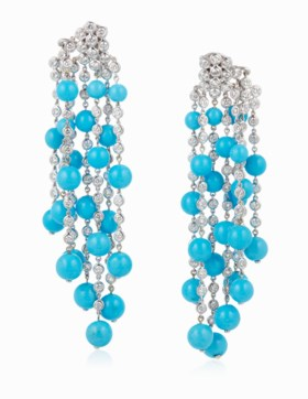 MICHELE DELLA VALLE TURQUOISE AND DIAMOND EARRINGS