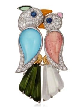 MICHELE DELLA VALLE MULTI-GEM AND DIAMOND BIRD BROOCH