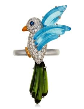 MICHELE DELLA VALLE TOPAZ, TOURMALINE AND DIAMOND BIRD RING