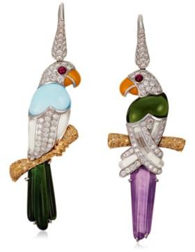 MICHELE DELLA VALLE MULTI-GEM AND DIAMOND BIRD EARRINGS