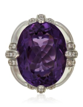 MICHELE DELLA VALLE AMETHYST, ROCK CRYSTAL AND DIAMOND RING