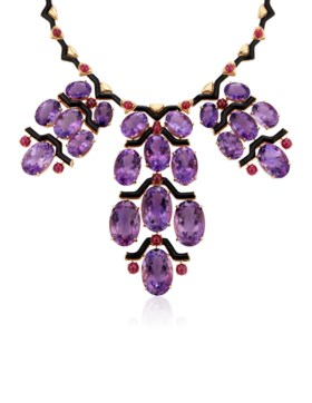 MICHELE DELLA VALLE AMETHYST, RUBY AND ENAMEL NECKLACE