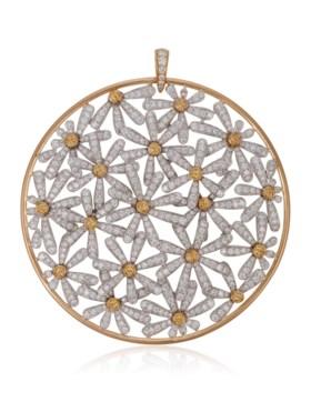 MICHELE DELLA VALLE DIAMOND AND YELLOW SAPPHIRE FLOWER PENDA