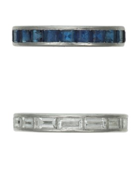 TIFFANY & CO SAPPHIRE ETERNITY BAND AND HARRY WINSTON DIAMON
