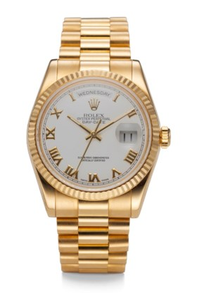 ROLEX, DAY DATE, 18K YELLOW GOLD, REF 118238