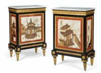 A PAIR OF LATE LOUIS XV ORMOLU-MOUNTED, EBONY AND VERNIS MARTIN MEUBLES D'APPUI