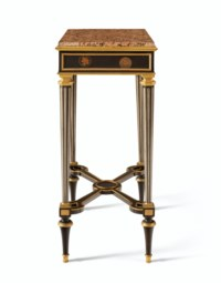 A PAIR OF LOUIS XVI ORMOLU-MOUNTED, PEWTER AND LACQUERED TOLE-INLAID EBONY AND EBONIZED TABLES DE CAFE