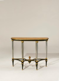 A LOUIS XVI ORMOLU-MOUNTED AND PEWTER-INLAID EBONY CONSOLE TABLE