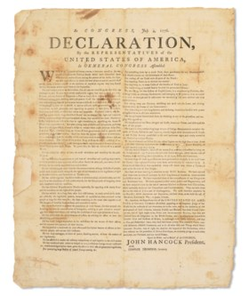 A rare contemporary broadside edition of the Declaration of