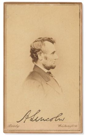 A carte-de-visite photograph signed as President