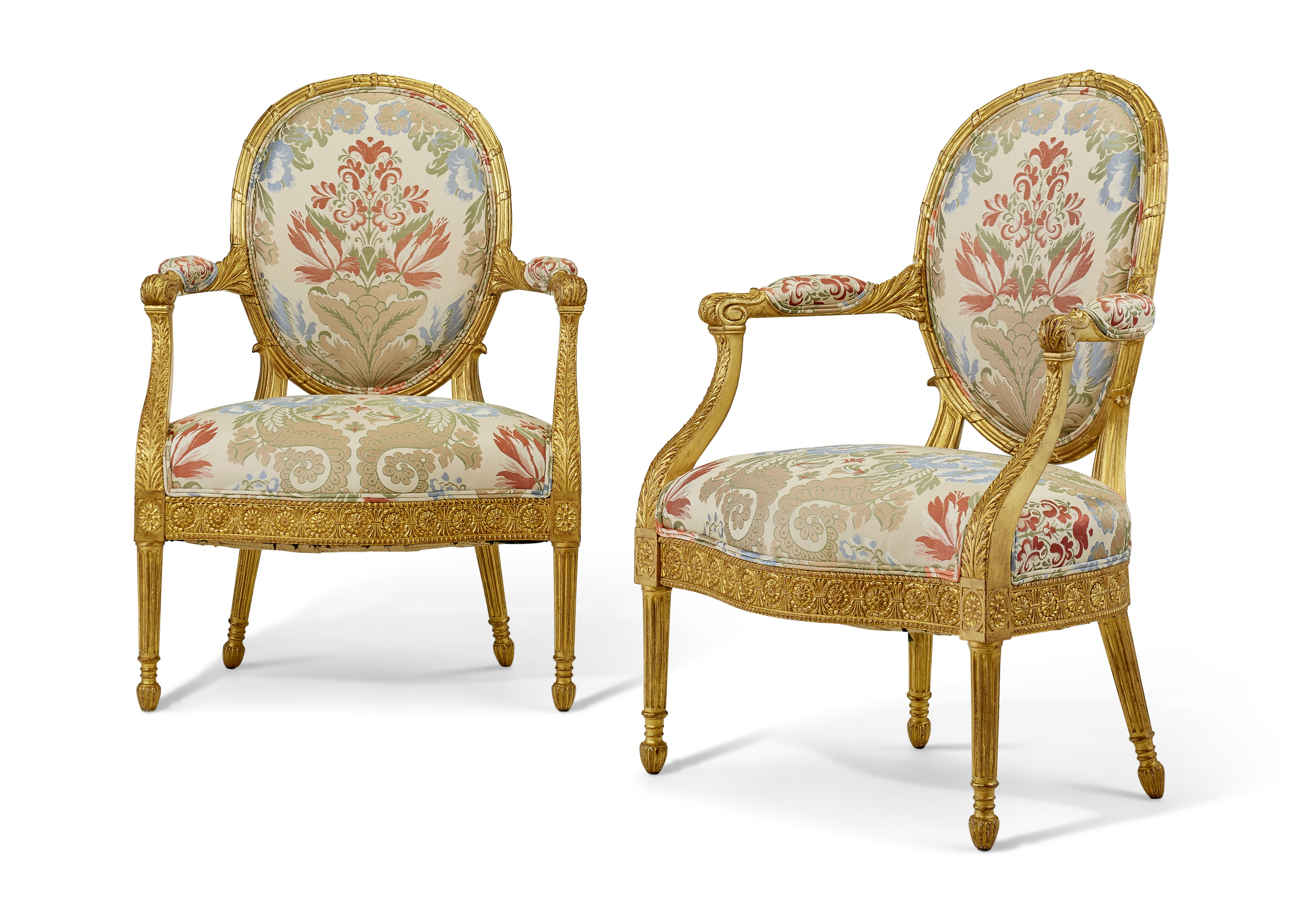 A pair of George III giltwood armchairs, 19th century. 39  in (99  cm) high. Estimate $3,000-5,000. Offered in The Collector English & European Furniture, Ceramics, Silver & Works of Art on 5-19 October 2021 at Christie's Online